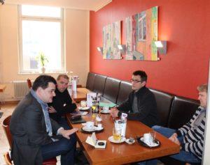 Marcus Weinberg, Dieter Sanlier, Lutz Hoppe und Axel Graßmann im Restaurant Haus5